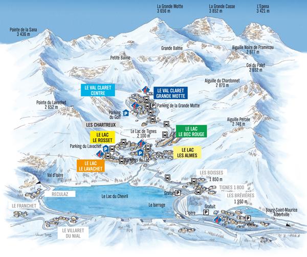 Plan de la station de tignes vacances tignes - Office de tourisme de tignes ...